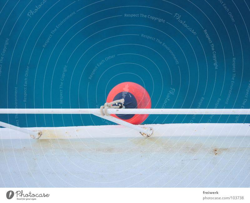 klar bei Fender, klar bei Leine Boje Meer See türkis Wasserfahrzeug Reling weiß ruhig Vogelperspektive Ägypten tauchen Erholung Ferien & Urlaub & Reisen