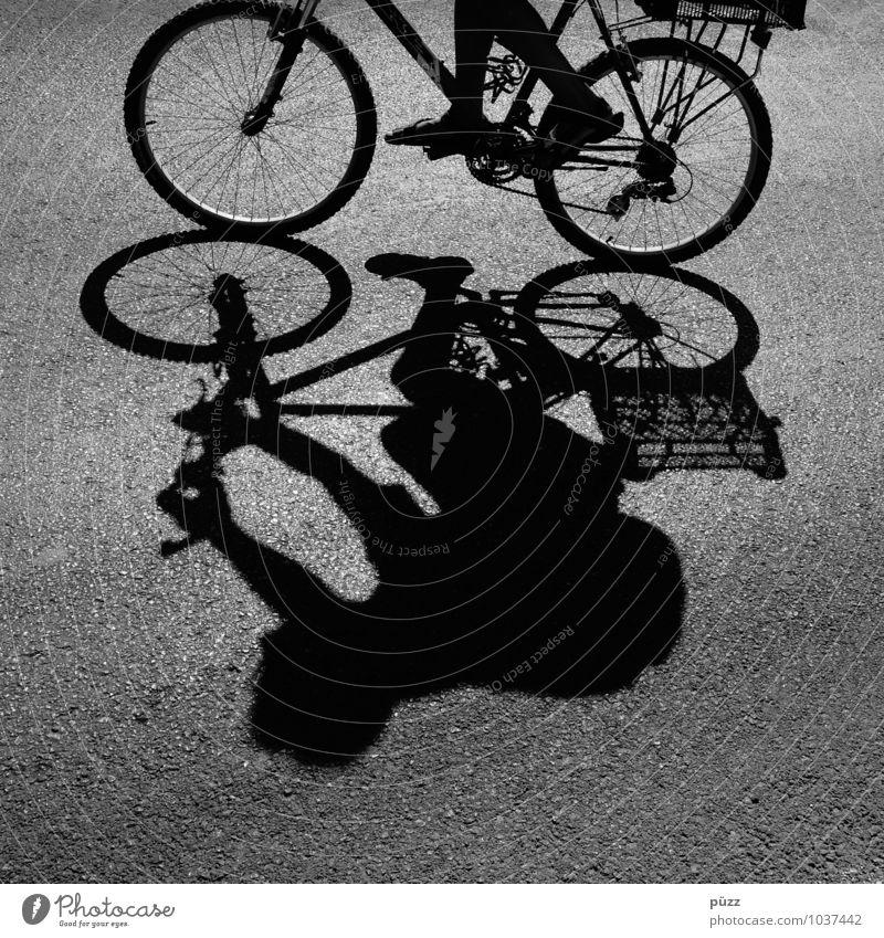Schattenmann Fahrrad Mensch Körper 1 Verkehr Verkehrsmittel Fahrradfahren Straße Bewegung Rad Asphalt Sommer Formentera heiß Speichen Beine Kette Fahrradtour