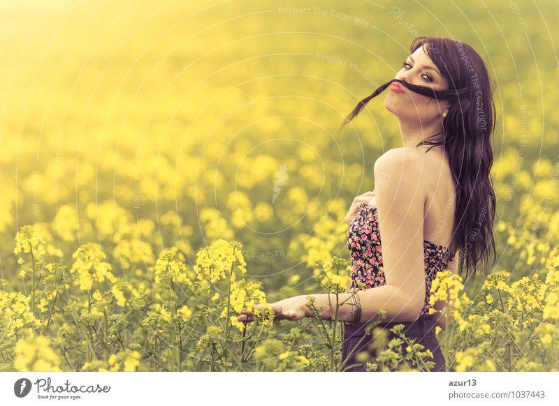 Funny beautiful spring girl with hair moustache in yellow meadow Mensch Frau Kind Natur Jugendliche schön Sommer Freude Umwelt Erwachsene Leben Wiese Frühling