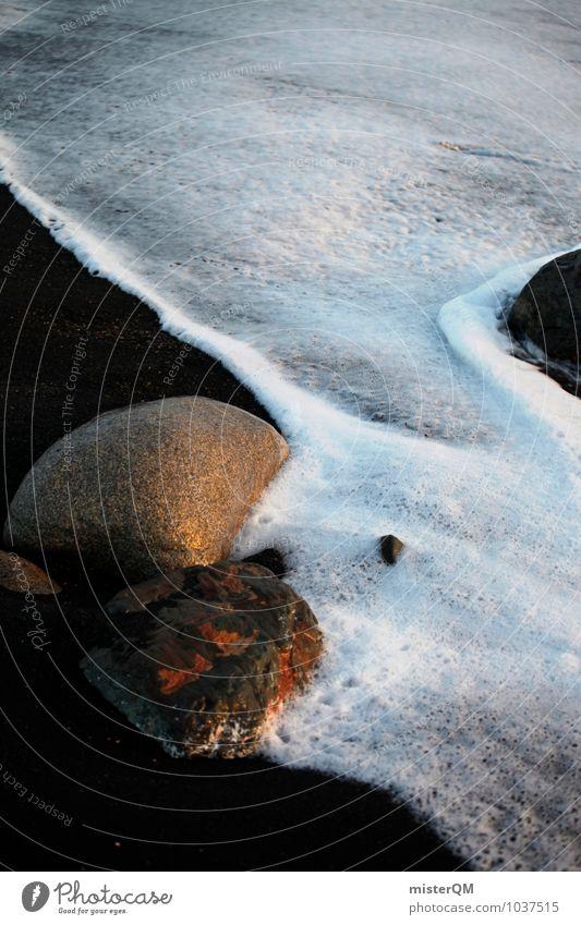 umspült. Umwelt Natur Landschaft ästhetisch Zufriedenheit friedlich Meer Wellen Stein Urlaubsstimmung Schaum Gischt Küste Wellness Erholung ruhig Idylle
