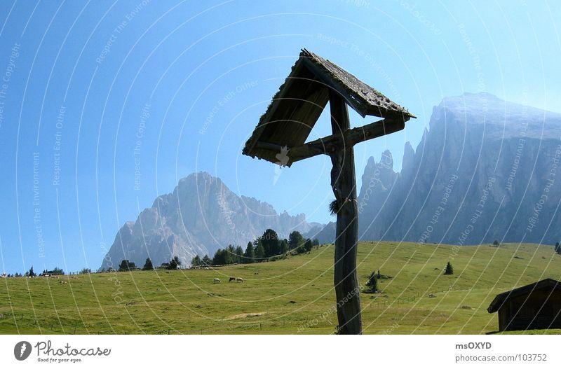 Zallinger Alm Rücken Kruzifix Bergsteigen Blauer Himmel Südtirol Christliches Kreuz Langkofel Plattkofel Seiser Alm