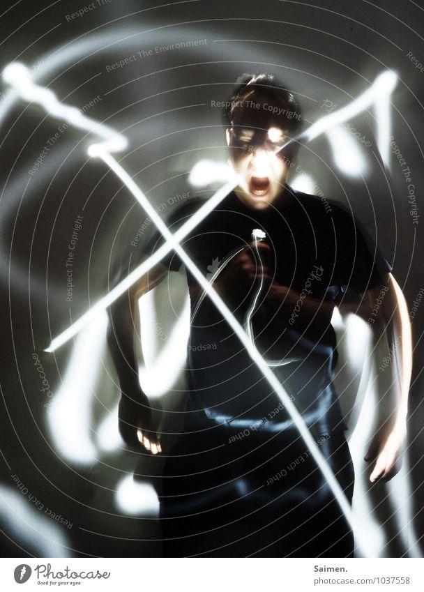 Lightflexxing I Mensch maskulin Mann Erwachsene Körper Kopf 1 30-45 Jahre schreien Aggression bedrohlich dunkel Gefühle Schmerz gefährlich verstört Wut Ärger