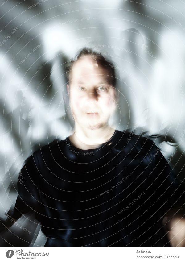 lichtzerflexxt Mensch Mann Erwachsene Kopf Gesicht 30-45 Jahre Blick bizarr abstrakt Gedeckte Farben Innenaufnahme Experiment Textfreiraum oben