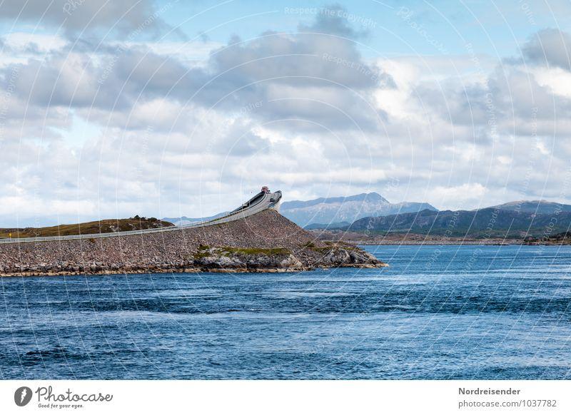 Atlantikstraße Ferien & Urlaub & Reisen Tourismus Ferne Meer Landschaft Urelemente Wasser Himmel Wolken Felsen Berge u. Gebirge Küste Fjord Brücke Bauwerk