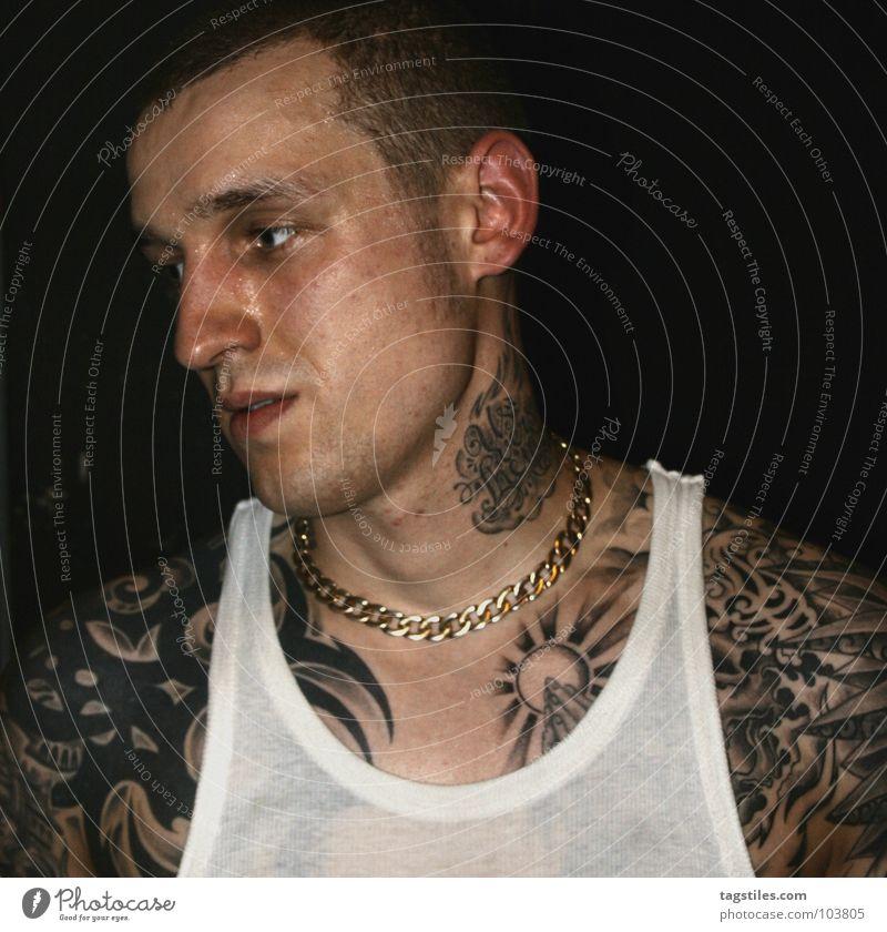 HH HARDCORE Mann Hand Kraft gold Haut nass T-Shirt Hemd Gebet Tattoo Kette durchsichtig Typ Hals Hardcore