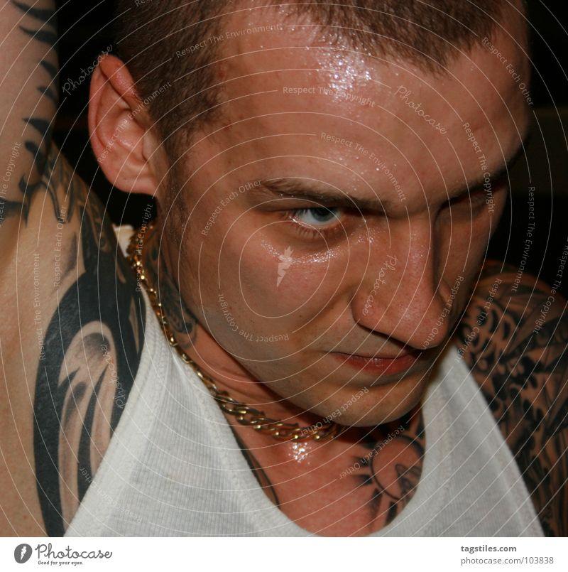 HH HARDCORE Mann Kraft gold Haut nass T-Shirt Hemd Tattoo durchsichtig Kette Typ Hals Hardcore transpirieren Musik