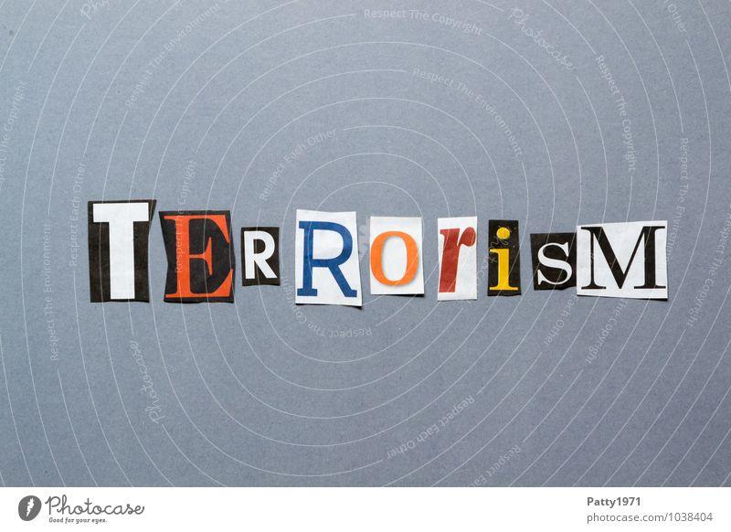 Terrorism Printmedien Zeitung Zeitschrift Zeichen Schriftzeichen Typographie bedrohlich Angst Entsetzen Aggression Gewalt Hass Gesellschaft (Soziologie)