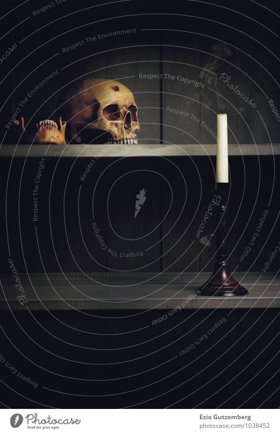 Vanitas Stillleben; Leben, Tod und Auferstehung weiß gelb Traurigkeit Gefühle Senior grau Holz Religion & Glaube Kopf ästhetisch Vergänglichkeit retro Trauer