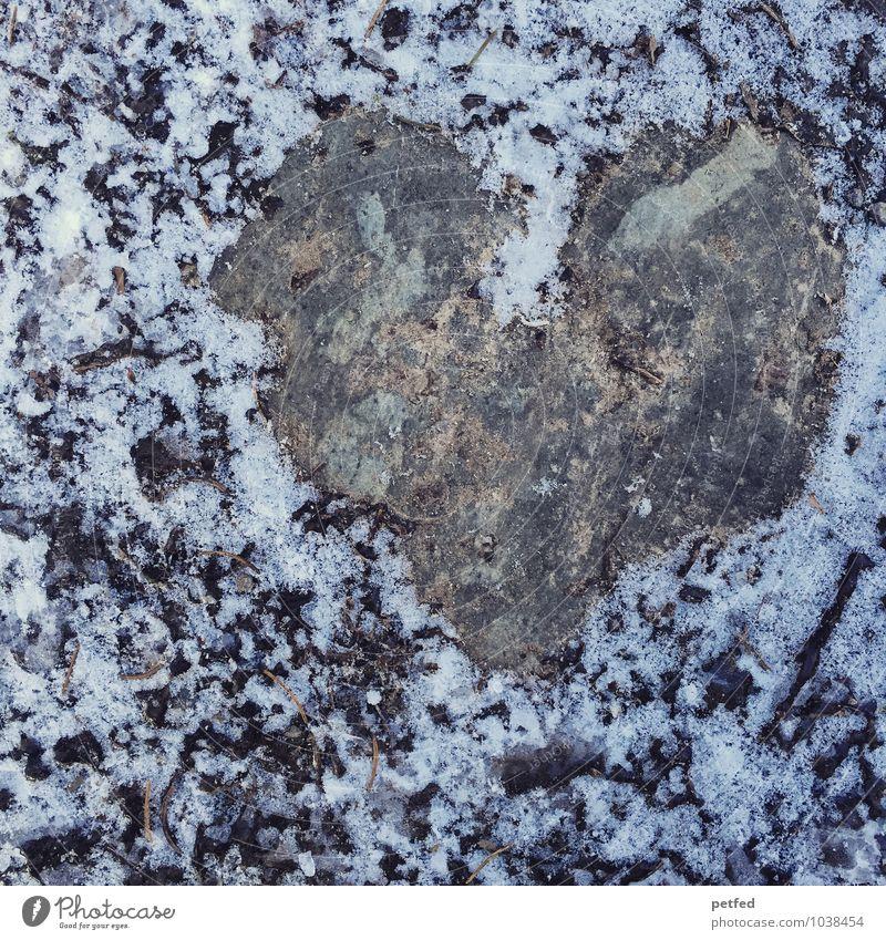Heart of stone Natur Erde Winter Eis Frost Schnee Stein Herz kalt nass grau schwarz weiß Gefühle Liebe Schmerz feucht Phantasie Strukturen & Formen Zeichen