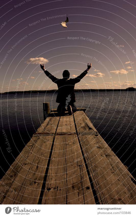 Pray Gebet See Vogel Steg Wolken Konzentration Kraft pray Natur Himmel Erde