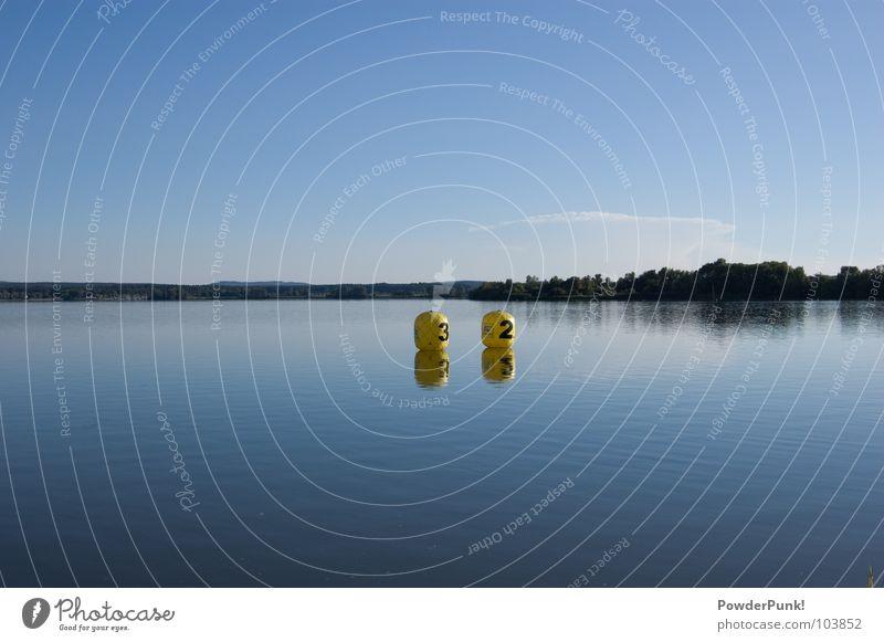 Signs in the sea gelb 3 2 Baum Panorama (Aussicht) Franken Wellen Holzmehl Wald Reflexion & Spiegelung Deutschland Bayern Wasser Water three two balloons tree