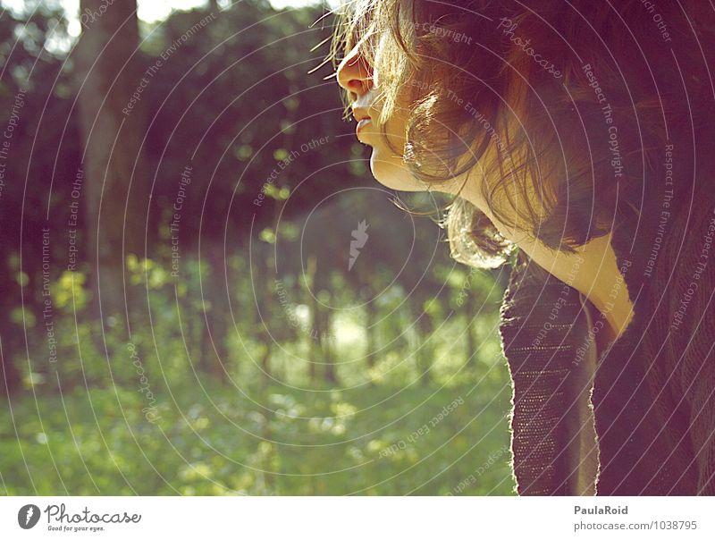 Life's circus. Mensch Jugendliche schön Sommer Junge Frau Erholung ruhig Wald Gefühle feminin Gras Glück Haare & Frisuren Stimmung Kopf träumen