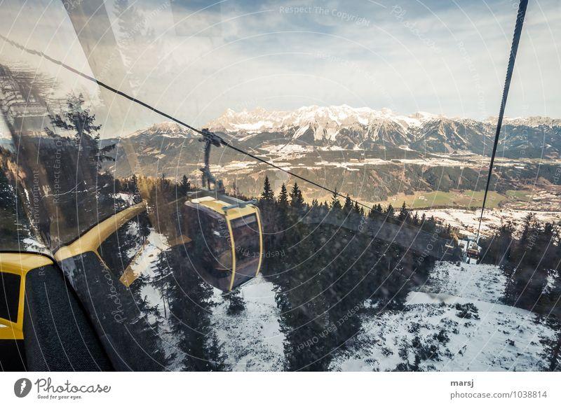 Talfahrt Himmel Natur Ferien & Urlaub & Reisen Winter Berge u. Gebirge Herbst Bewegung Schnee Freiheit Felsen Eis Tourismus Aussicht Ausflug Schönes Wetter