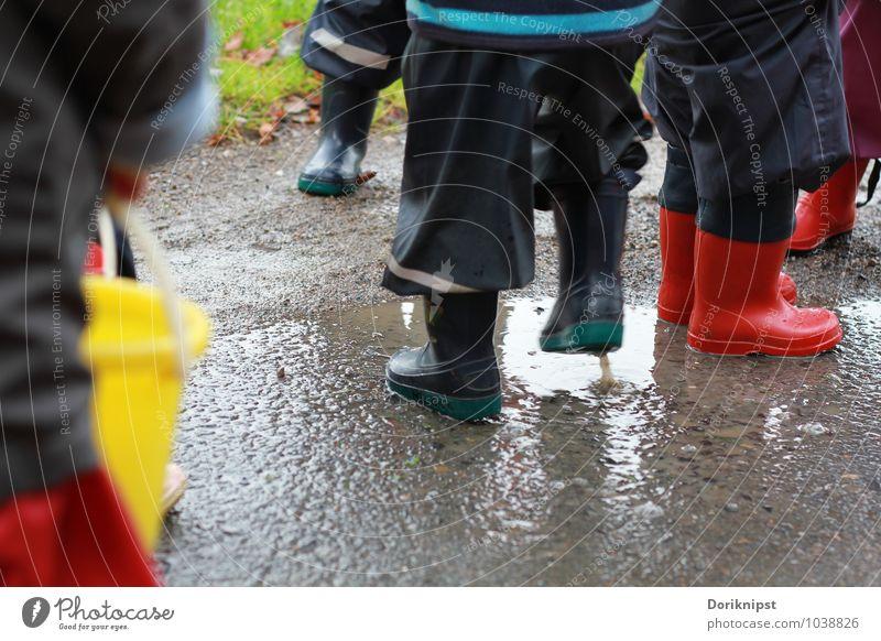 Spaß im Regen Mensch blau Wasser rot Freude Leben Herbst natürlich Spielen grau Beine gehen authentisch Kindheit Fröhlichkeit nass