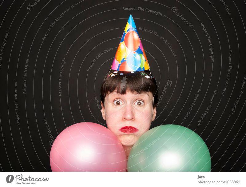 aufgeblasen Freude Nachtleben Party Feste & Feiern Karneval Silvester u. Neujahr Geburtstag Mensch Pony Luftballon lustig Neugier verrückt rosa Stimmung