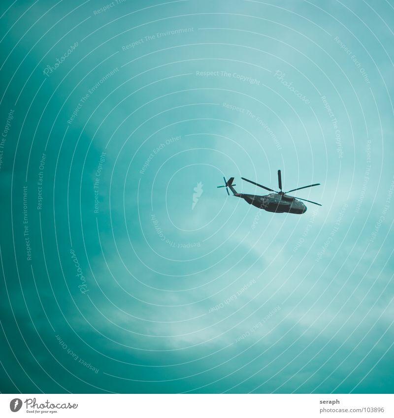 Hubschrauber Himmel Wolken fliegen Luft Luftverkehr Güterverkehr & Logistik Tragfläche fliegend Personenverkehr üben rotieren Einsatz Infrastruktur Luftraum