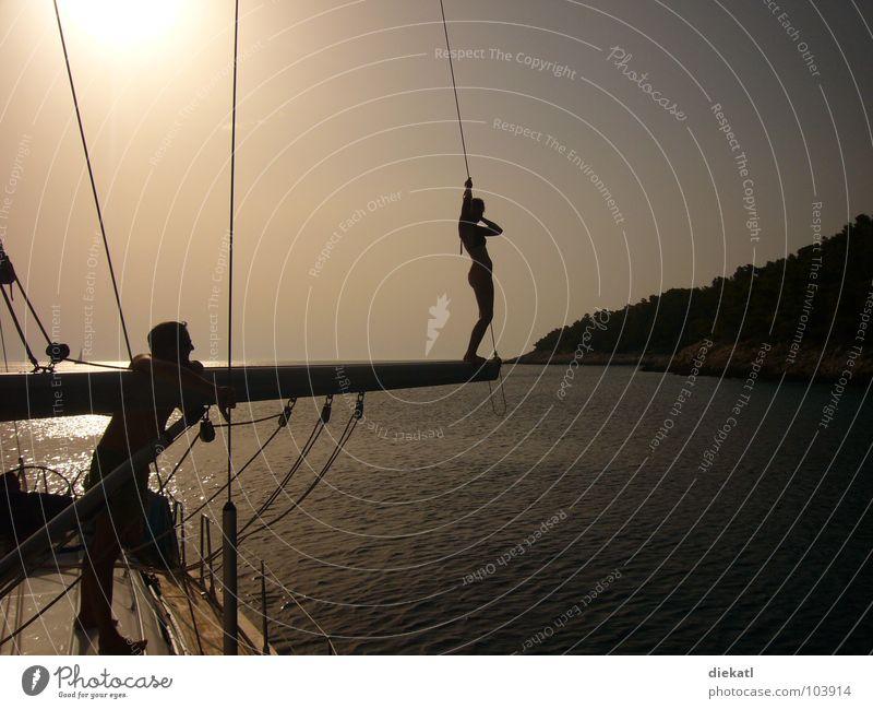 sonnenuntergang segelboot Sonnenuntergang Segelboot Wasserfahrzeug Kroatien Baum springen Physik Meer Bucht sundowner chillig Strommast Wärme