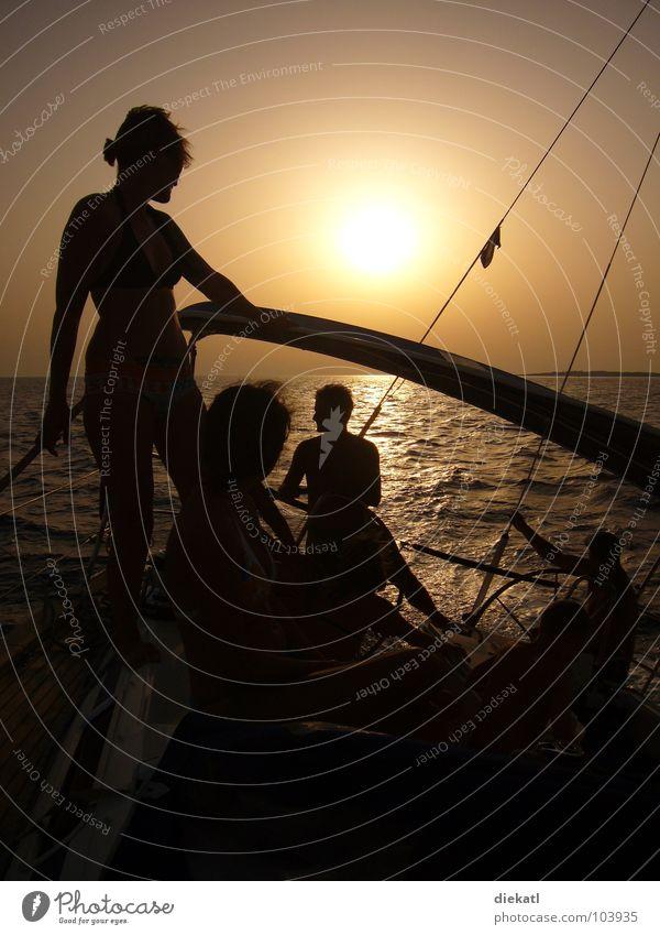 dem sonnenuntergang davonsogeln Mensch Sonne Meer Sommer Wärme Wasserfahrzeug orange Physik Segeln Kroatien