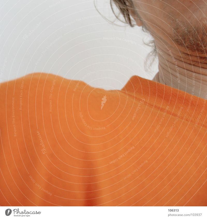 WENDEHALS Mensch Mann Haare & Frisuren Denken orange Haut T-Shirt Quadrat obskur Falte Hemd Typ Fett drehen Hals