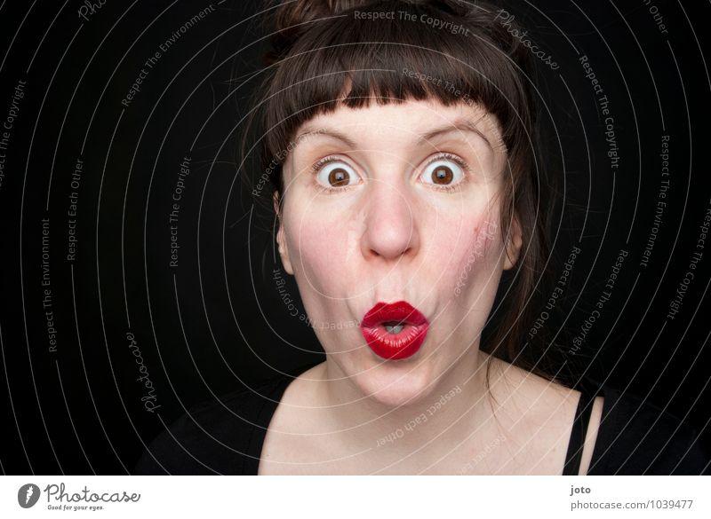 are you serious? Mensch Frau Erwachsene Leben feminin sprechen Angst verrückt Kommunizieren Neugier Todesangst Lippen Glaube Überraschung Irritation Verzweiflung