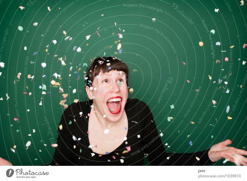 """konfettiserie """"green"""" Mensch Jugendliche grün Junge Frau Freude Leben Glück lachen Feste & Feiern Party wild Geburtstag frei Energie Fröhlichkeit verrückt"""