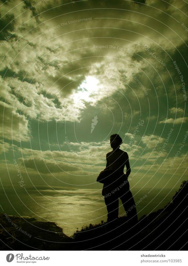 Future Folk Licht Wolken Gegenlicht Meer Ferien & Urlaub & Reisen Kanaren schwarz T-Shirt Hose Afrika Freiheit Schatten Himmel Berge u. Gebirge Insel Mensch