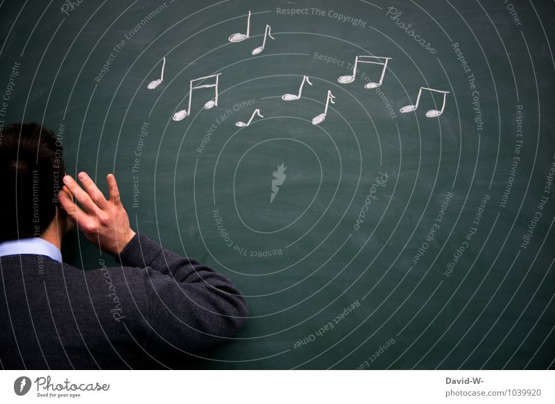 Gehörbildung Mensch Jugendliche Junger Mann maskulin Musik Geburtstag Tanzen Studium lernen Bildung Ohr Student hören Schüler Tafel Kreide