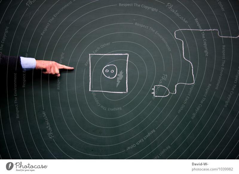 Strom Umwelt Schule Energiewirtschaft maskulin Technik & Technologie Elektrizität lernen Industrie Zeichen Schutz Kabel Pfeil Physik Tafel Kreide sparen