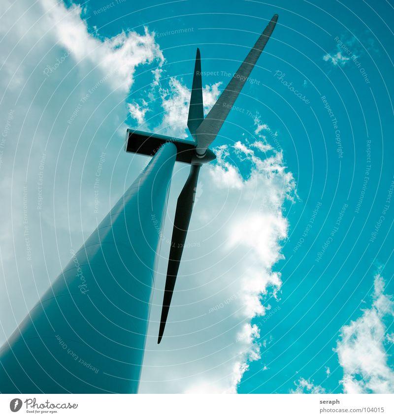 Windrad Windkraftanlage Elektrizität Energie Energiewirtschaft umweltfreundlich strompreis Himmel Konstruktion Erneuerbare Energie ökologisch Umweltschutz