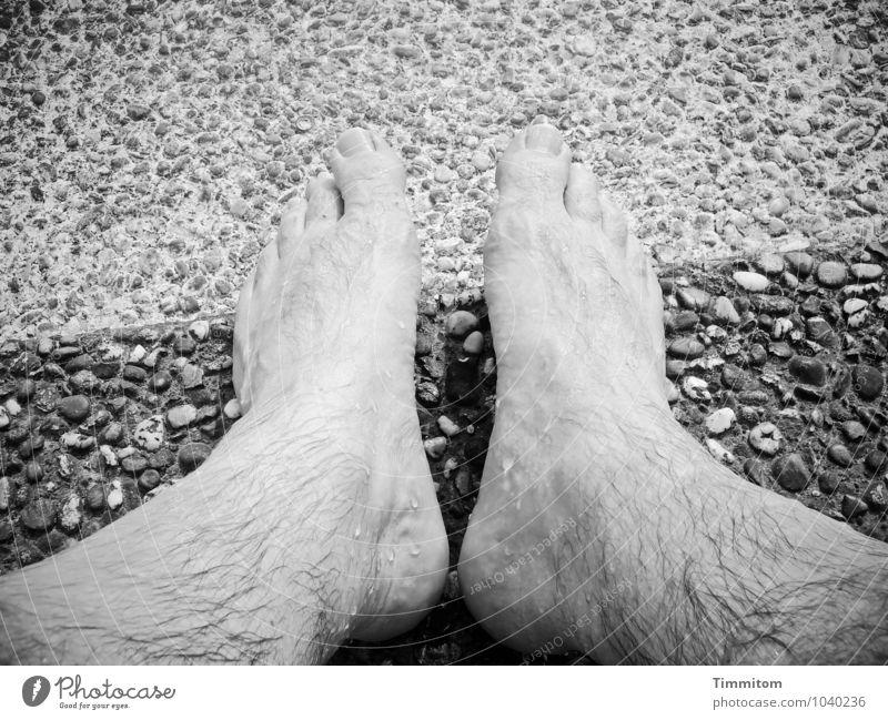 2 x 2 - Nr. 1/2 Ferien & Urlaub & Reisen Fuß Mensch Beton sitzen warten einfach grau weiß Gefühle Lebensfreude nass Haare & Frisuren Zehen Treppe