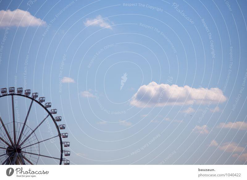 riesenrad. Freizeit & Hobby Entertainment Veranstaltung Feste & Feiern Jahrmarkt Himmel Wolken Sonne Sommer Schönes Wetter Stadt Riesenrad drehen schaukeln rund