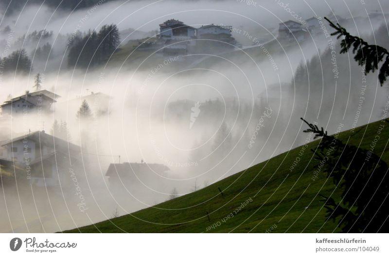 Mr. Fog weiß grün ruhig Haus Berge u. Gebirge Nebel Dorf geheimnisvoll Hügel Tal friedlich zudecken Nebelbank