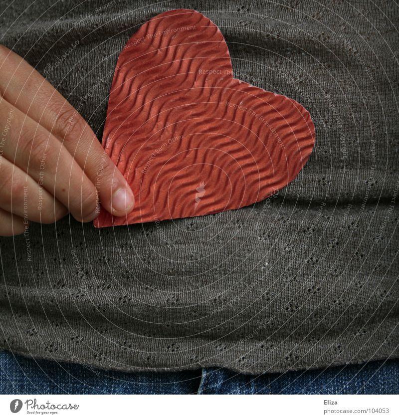 Wellpappenherz Mensch blau Hand rot Freude Liebe Gefühle Glück Paar Wellen Zufriedenheit Herz Finger Geschenk süß Romantik