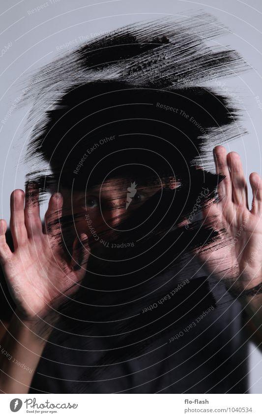 ALPHA III Mensch Jugendliche Mann Einsamkeit Junger Mann 18-30 Jahre schwarz dunkel Erwachsene Graffiti Stil Kunst maskulin Design Glas beobachten