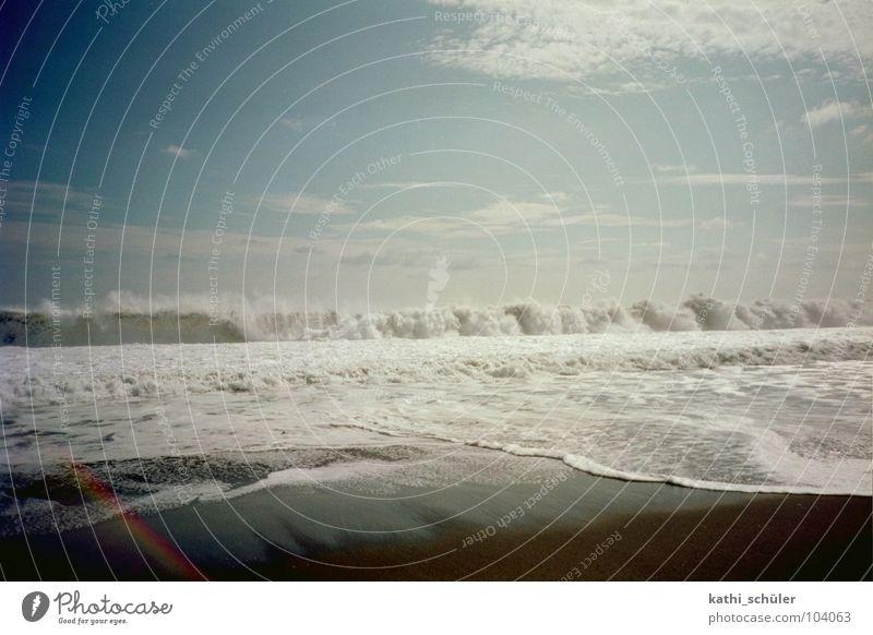 Strand mit Wellen oder auch: el paradiso Himmel blau Strand Ferien & Urlaub & Reisen Wolken Sand Wellen Küste Paradies Mittelamerika Guatemala
