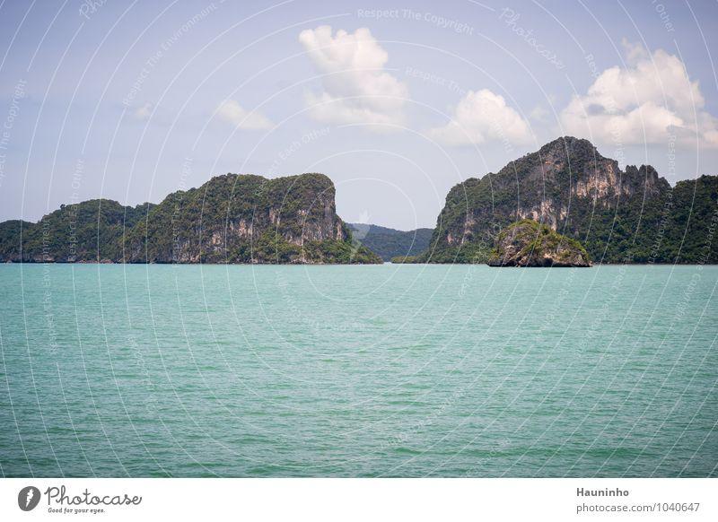 thailändische Inseln Himmel Natur Ferien & Urlaub & Reisen Pflanze grün Wasser Sommer Baum Meer Landschaft Wolken Wärme Küste Felsen Tourismus Klima