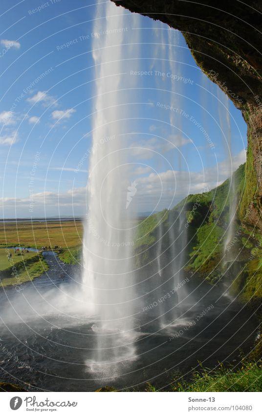 Hinter'm Wasserfall Natur Wasser Himmel Landschaft Island Wasserfall