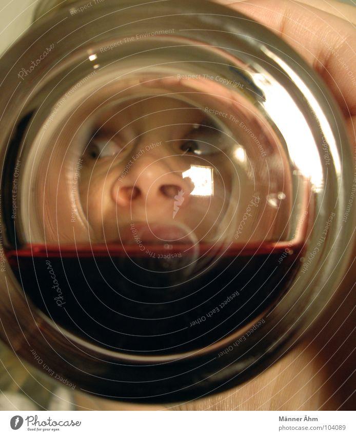 Zu tief ins Glas... Frau Hand Freude Gesicht Auge Nase Getränk trinken Wein beobachten Alkoholisiert genießen drehen Durst