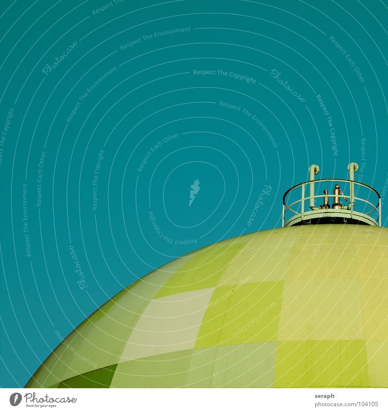 Gastank Umwelt Architektur Energiewirtschaft Technik & Technologie Industrie Bauwerk Kugel Konstruktion Lager ökologisch Umweltschutz industriell Chemie Benzin