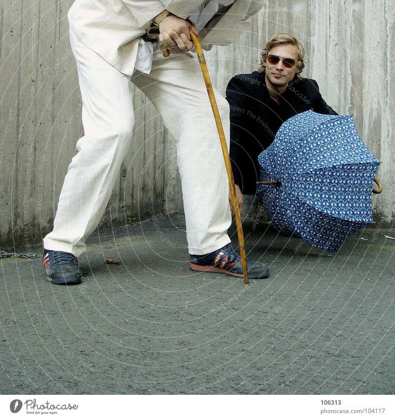YOU SAY IT'S TRASH? [KOLABO] weiß schwarz paarweise Regenschirm Anzug trashig Sonnenbrille Freak Schwäche nerdig Hilfsbedürftig Spaßvogel Junger Mann