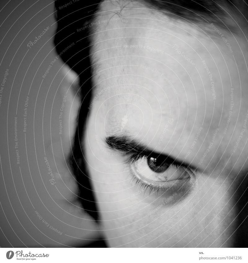 Alter, blick Dich! Mensch maskulin Mann Erwachsene Auge 30-45 Jahre beobachten Jagd Blick Aggression bedrohlich kalt rebellisch Kraft Willensstärke Macht Mut