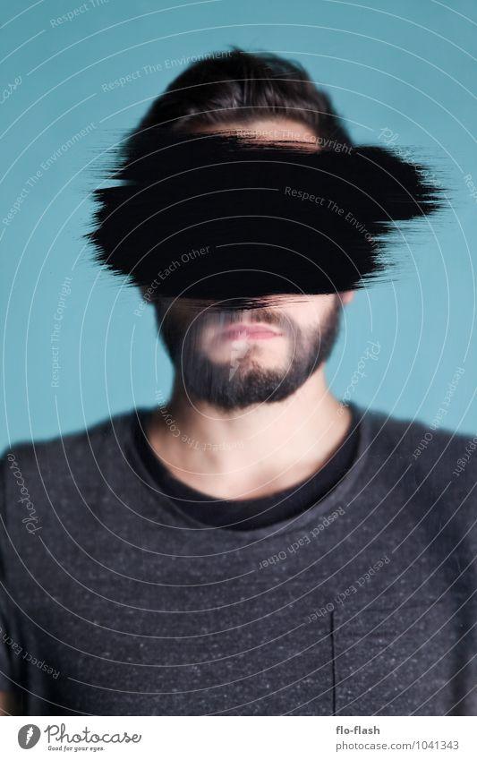 BLACK IN / OUT II Mensch Jugendliche Mann Junger Mann 18-30 Jahre schwarz Erwachsene Traurigkeit Kunst maskulin dreckig Design Glas verrückt beobachten lernen
