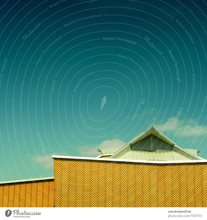 triangel blau Farbe gelb Fenster Architektur Raum Fassade modern frei Dach Konzert Dynamik Konstruktion Musikinstrument Geometrie Schwung