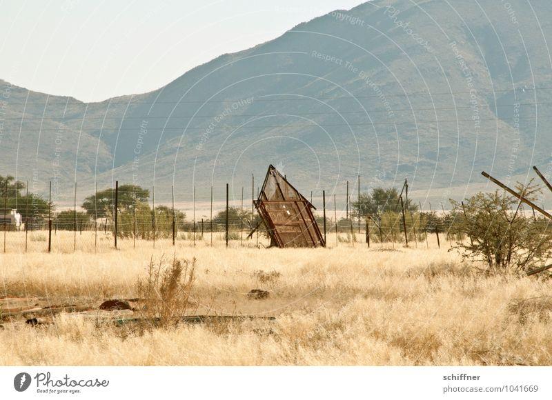 Hüttengaudi | zu viel Gaudi alt Baum Einsamkeit Fassade Sträucher verrückt retro Neigung trocken Bauwerk Wüste Hütte schäbig Ruine Dürre Scheune