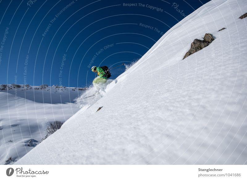 Pow Drop Sport Wintersport Sportler Skier Skipiste Tiefschnee Mensch maskulin Erwachsene 1 Umwelt Natur Himmel Wolkenloser Himmel Wetter Schönes Wetter Schnee