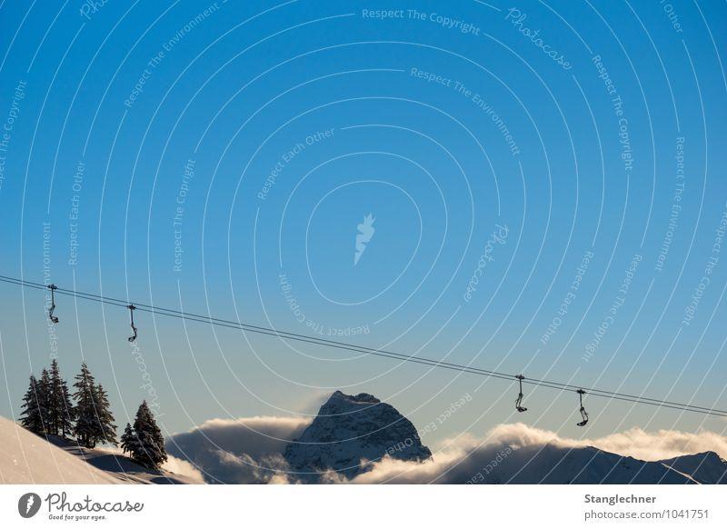 Auf,Ab Umwelt Natur Landschaft Himmel Wolkenloser Himmel Sonnenlicht Winter Klima Wetter Schönes Wetter Schnee Felsen Alpen Berge u. Gebirge Gipfel