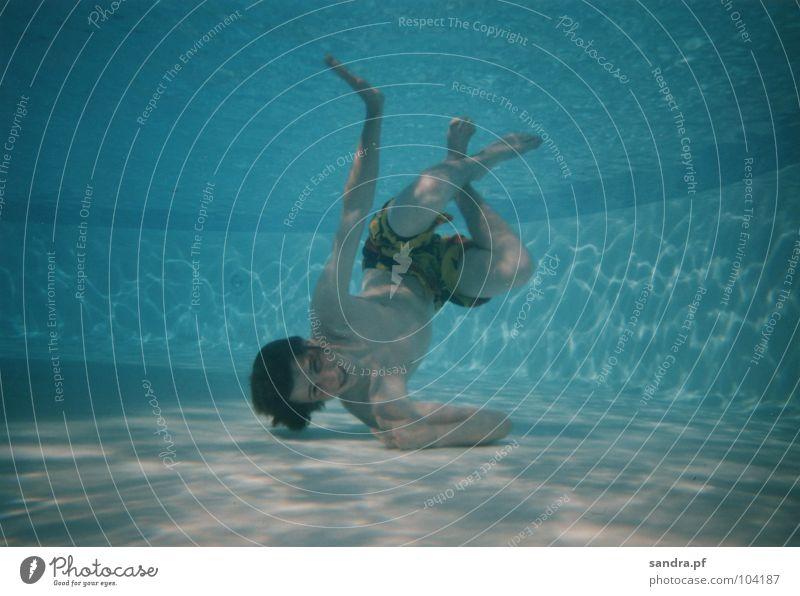 Wassermann IV blau Wasser Spielen Luft Schwimmen & Baden Schwimmbad tauchen blasen Leiter atmen Luftblase hell-blau Unterwasseraufnahme