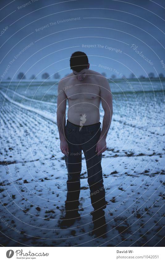 Abhärtung schön Körper Gesundheit Gesundheitswesen sportlich Fitness Leben Wohlgefühl Erholung ruhig Meditation Winter Schnee Mensch maskulin Junger Mann