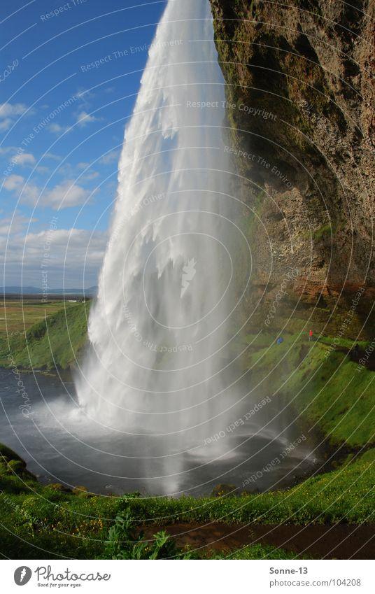 Kraftvoll Island Wasserfall Seljalandsfoss Himmel Natur Landschaft Bildband