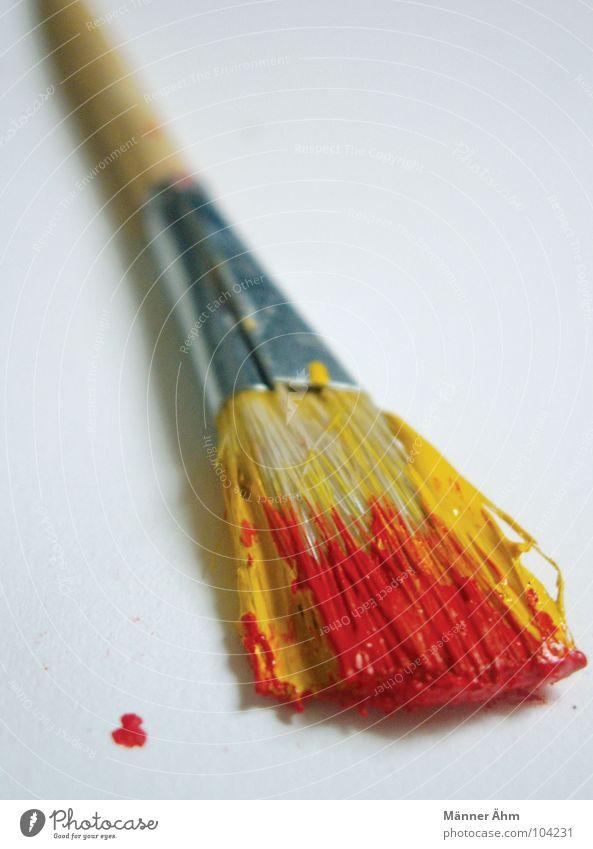 Einfallspinsel rot gelb Holz Kunst Dekoration & Verzierung Kultur Bild streichen zeichnen Gemälde Fleck Pinsel Borsten Acrylfarbe